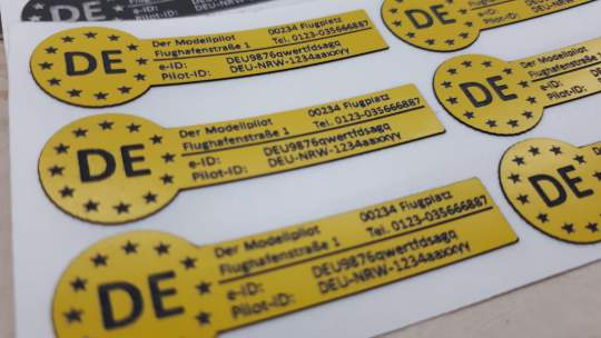uas eID e-ID sticker 46x15mm yellow