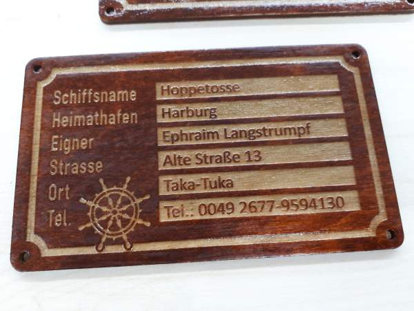 owners sign wood mahogany steering rudder